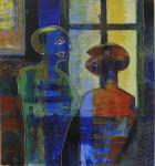 """samtale ved et vindu"" Akrylmaleri 110x120 cm"
