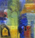 """""""vi treffes på nettet"""" Akrylmaleri 110x120 cm"""