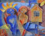 """Fremtidstro"" Akrylmaleri 90x70 cm"