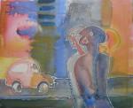"""samtale om en bil"" Akrylmaleri 60x40cm"
