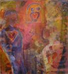 """""""om å lytte med hjertet"""" Akrylmaleri 120x 110 cm"""