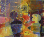 """vanskelig samtale"" Akrylmaleri 50x60cm"