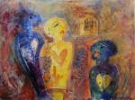 """blandt venner"" Akrylmaleri 60x80 cm"