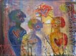 """""""å se hverandre i samtalen"""" Akrylmaleri 40x55cm Utstilt i Antofagasta, Chile"""